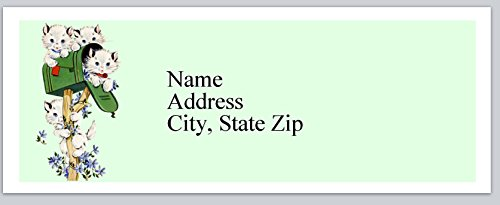 120 Personalized Return Address Labels Kittens playing with mailbox (bx 330)