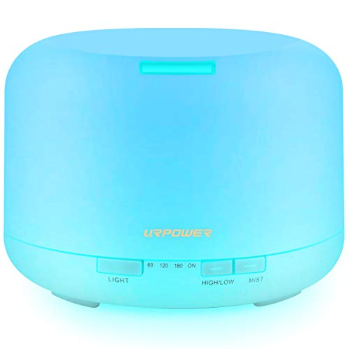 URPOWER 500ML Essential Oil Diffuser Humidifiers Ultrasonic Aromatherapy Diffusers with 4 Timer Settings 7 Color Changing and Waterless Auto Shut-off for Home Office Living Room Yoga Spa