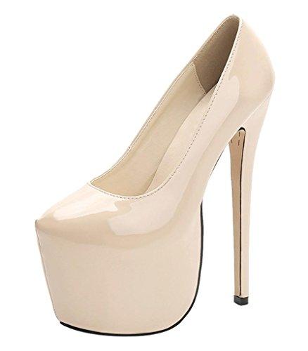Jiu du High Heel Platform Pumps Wedding Party Shoe Sexy Slip On Close Toe Stiletto Dress Shoes Nude Patent PU Size US6 EU36