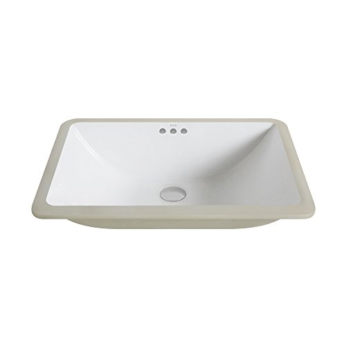 Buy Cheap Kraus KCU-251 Elavo Ceramic Large Rectangular Undermount Bathroom Sink with Overflow, Whit...