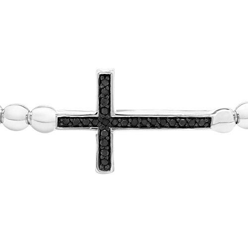 Brilliant Designers 1/10 CTTW Black Treated Diamond Cross Bead Bracelet Set In Sterling Silver 7