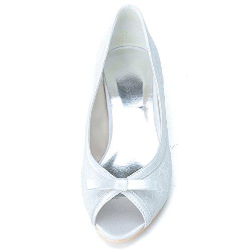 Prom ZXF0700 08 Schuhe Schleife Clearbridal Ferse und Schleife Spitze Brautschuhe Spitzschuh mit mit Kitten Schwarz Damen afOTqg