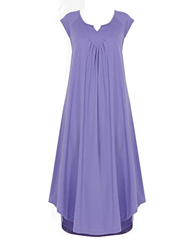Ekouaer Sleepwear v Neck Cap Sleeve Pajamas Soft Long Nightgowns for Women Blue Purple