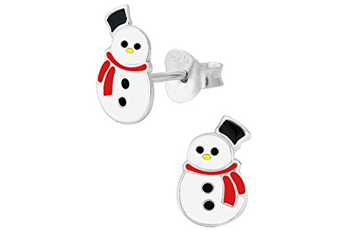 925-Sterling-Silver-Hypoallergenic-Cute-Snowman-Christmas-Stud-Earrings-for-Young-Girls