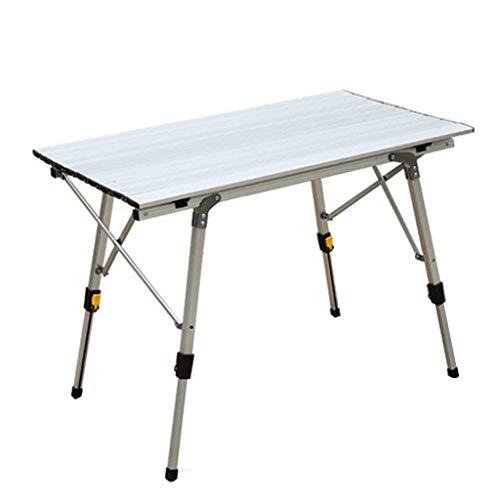 iHPH7 Outdoor Aluminum Folding Table Ultralight Portable Picnic Camping Table (35.43inch×20.87inch×(17.72-27.56) inch,White)