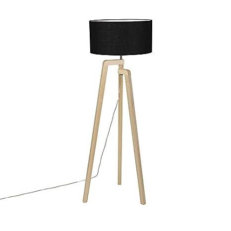 QAZQA Moderno Lámpara de pie PUROS madera con pantalla 50cm ...