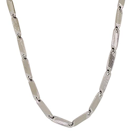 (Shopjw Hollow Silver-Plated Brass 4.5mm Wide Hip Hop Style Bullet Link Chain Necklace, 30