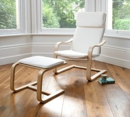 Lounge Chair U0026 Footstool In Cream, Bentwood DELUXE By Northshore
