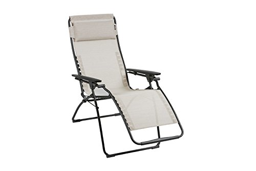 LAFUMA stilvoller Relaxsessel Futura Batyline Duo in schwarz aus Stahl, 83 x 71 x 113 cm, Sitzfläche aus hochwertiger Textilene in galet, mehrfach verstellbar, klappbar, inkl. Kopfpolster, wetterfest