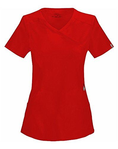 Infinity by Cherokee Women's Mock Wrap Solid Scrub Top Medium Red (Red Womens Scrub Top)