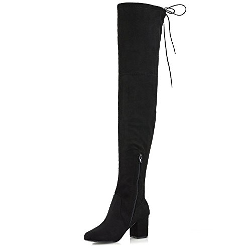 Heel Long High Low Suede Ladies ESSEX Lace The Shoes GLAM Boots Mid Faux 8 3 Knee Thigh Black Womens up Over ttBqxP6