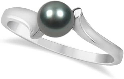 Grayish Black Akoya Cultured Pearl Solitaire Fashion Ring 14K White Gold Bypass Design 5.50mm