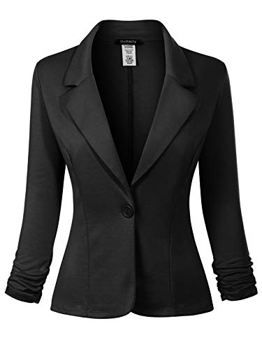 MixMatchy Women's Classic Casual Work Solid Color Knit Blazer Black 3XL ()