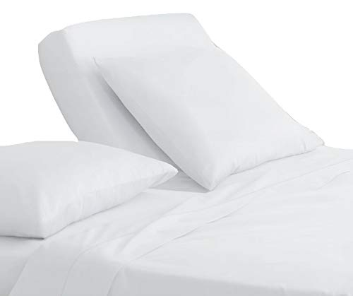 Luxury Hotel Collection Double Brushed Microfiber - 1800 Series - Split King Sheet Set With 15 Inch Deep For Adjustable Beds (Solid White)- 5 Piece Set - Wrinkle Free, Stain Resistant Bed Sheet Set