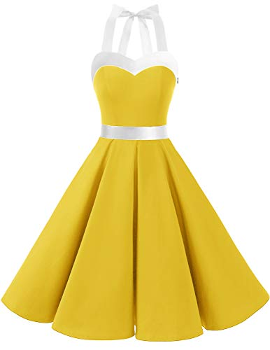 DRESSTELLS 50s Retro Halter Rockabilly Bridesmaid Audrey Dress Cocktail Dress Yellow White S