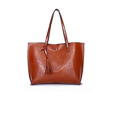 Bloomerang Hot Sale PU Leather Tassel Handbags Women Purse Shopping Totes Luxury Designer sac a Main Vintage Fashion Shoulder Bag Female color Brown L36cmH30cmW12cm