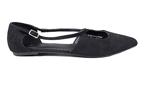 8 Fittings £30 Shoes Strap Sole Suede Cross Width RRP Pointed Fabric Buckle EEE Black Faux Divas New 4 Flat Toe In Ex Store E a6APW1g