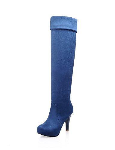 Eu38 De Redonda Azul Uk5 Cn38 Brown Vestido Botas Cerrada Punta Zapatos Xzz Trabajo Oficina us8 Y Mujer Cono negro Blue Eu39 5 us7 Casual Ante Uk6 5 Cn39 Tacón 4Yfaq5