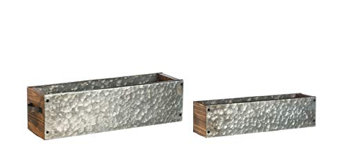 - Set of 2 Galvanized Metal Window Box Planters