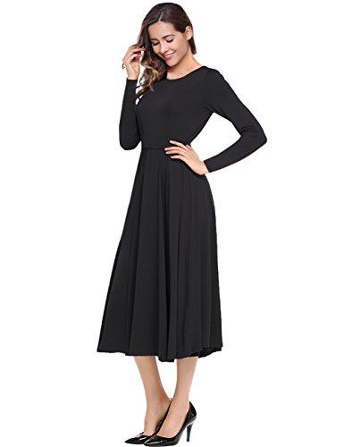 Leadingstar Women's Long Sleeve A-line Swing Midi Vintage Black Dress S from Leadingstar