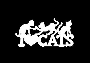 (Makarios LLC I Heart Cats Playful Pets Decal Vinyl Sticker Cars Trucks Vans Walls Laptop MKR| White |5.5 x 2.75|MKR277)