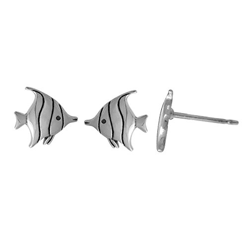 Boma Jewelry Sterling Silver Tropical Fish Stud Earrings (Sterling Silver Earrings Fish)