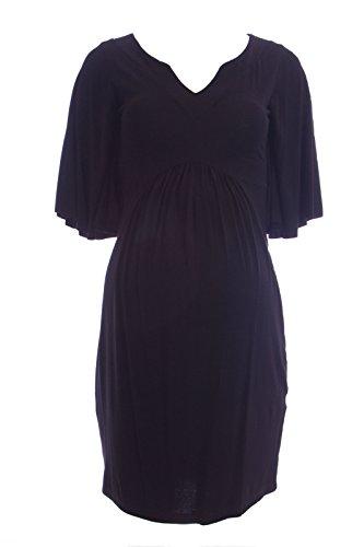 Olian Maternity Women's Short Batwing Sleeve Empire Waist Dress Large Black