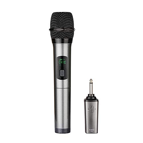 """ARCHEER Bluetooth Wireless Microphone, UHF Handheld Dynamic Microphone and Bluetooth Receiver with 1/4"""" (6.35mm) Output, Selectable UHF Channels Karaoke Microphone for Singing and Other Purpose."""