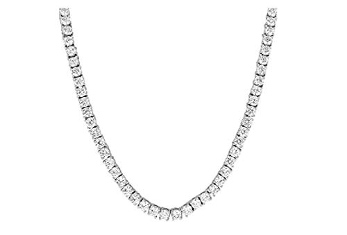 NEW 1 Row Tennis Necklace 20 Inch Silver Finish Lab Created Diamonds 4MM Iced Out Solitaires (Chain 20