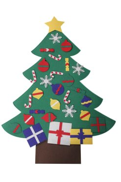 MATRIX WIZARD New Wall and Window Hanging Felt Christmas Tree with Ornaments (3 feet) - for Kids/Toddlers, Offices, Homes and (Christmas Ornaments For Kids To Make)