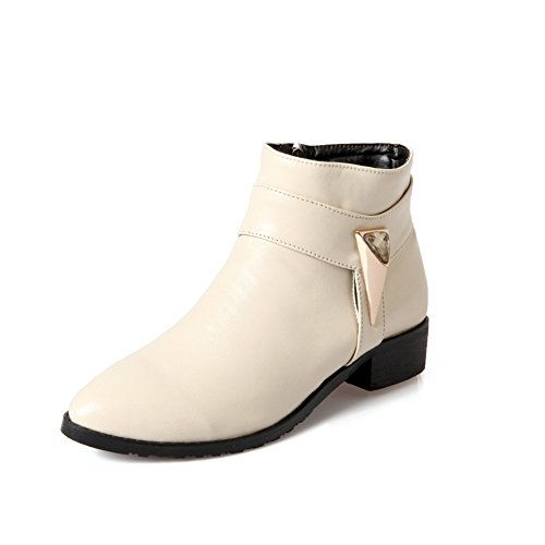 Zip Heel Heel Womens Toe Side with Beige Flat Fashion Pointed Boot Ankle 6BSwqTSx7