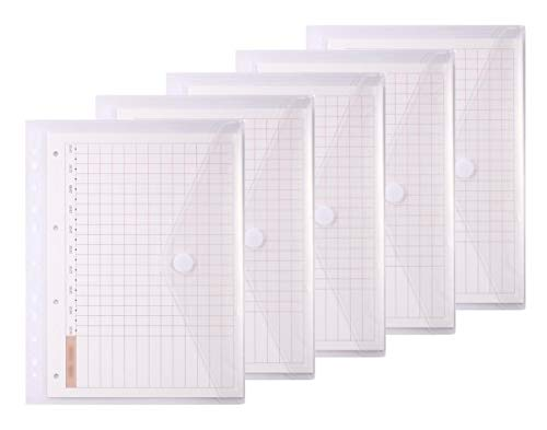 LaOficina 11 Holes Semi Poly Envelope Pocket Insert Pages for Binders, with Hook and Loop Closure Clear, Letter Size 5 Packs