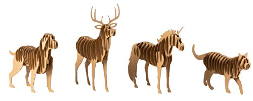 3D Puzzle - 4-Pack Animal Jigsaw Puzzles for Kids and Adults, Corrugated Cardboard Paper, Creative DIY Activity for Ages 3 and Up, Dog, Deer, Unicorn, and Cat Design]()