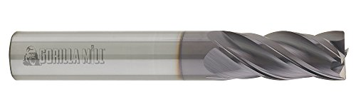 CGC Tools GM14FL4 Gorilla High Performance Carbide End Mill, GMX-35 Coating, Flat, 4 Flute, 1/4