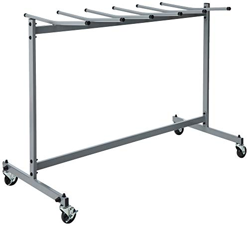 Cosco 60248GRY1E Commercial Heavy Duty Folding Chair Trolley Cart with Locking Casters, Gray