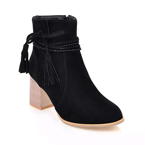 GAOQQ Autumn and Winter Women Boots Wide Calf, Bow High Heel Side Zip Martin Boots,Black-CN40 (Side Platform Lace Bow)