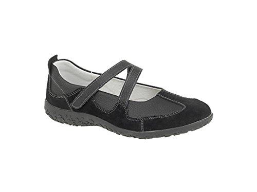 Boulevard LUCY Womens Soft Leather Extra Wide EEE Velcro Mary Janes Black Blacks
