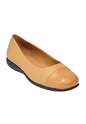 Comfortview Womens Wide Fay Ballet Flat Cammello