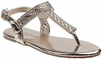 c3bf2d704b00 Nanette Lepore Girls Gold Rhinestone Thong Strap Buckle Sandals 11-4 Kids