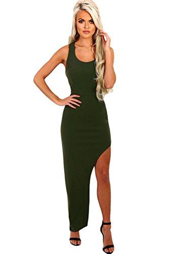Neue Frau Khaki Seite Spilt Strappy Zurück Maxi Kleid Büro Kleid ...