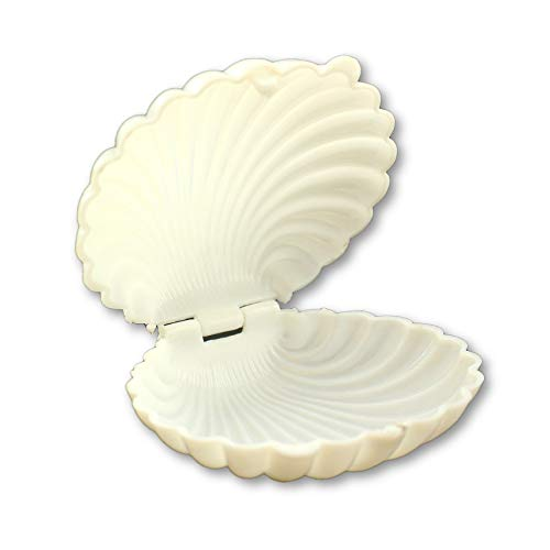 3.5 Inch White Plastic Seashell Clam Shell Party Favors Bulk 12 Pieces