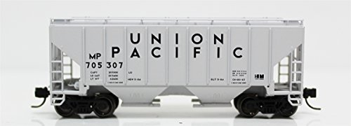 - Fox Valley Models N 85407 3000 Cu.Ft. 2-Bay Covered Hopper, Union Pacific MP (Gray, Black)