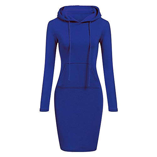 HGWXX7 Womens Casual Solid Patchwork O Neck Long Sleeve Hooded Long Sweatershirt Dress(XL,Blue)