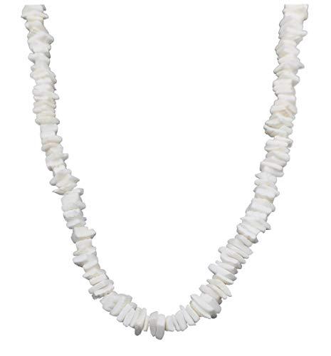 - LEYSTARE White Conch Clam Chips Puka Shell Necklace Collar Choker Hawaii Wakiki Sea Shell Beach Necklace for Girls Women (White, 16)