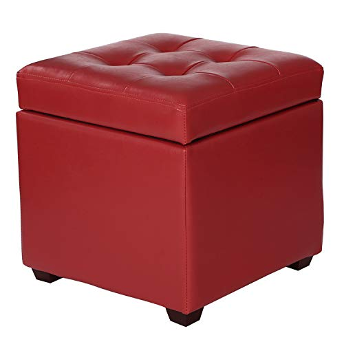 Adeco FT0286 Bonded Leather Square Tufted Cubic Cube Storage Footstool, 16