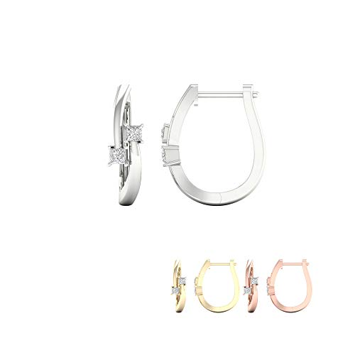 (IGI Certified 10K Yellow Gold 1/3ct TDW Diamond Two-Stone Hoop Earrings (I-J,I2))