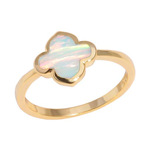 MARRLY.H Classic Four Leaf Clover Rings Yellow Gold Color White Fire Opal Lucky Quatrefoil Ring Flower Flora Korean Jewelry Woman White -