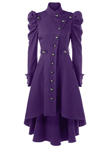 Nihsatin Vintage Steampunk Victorian Swallow Tail Long Trench Coat Jacket Puff Shoulder Single Breasted Purple -