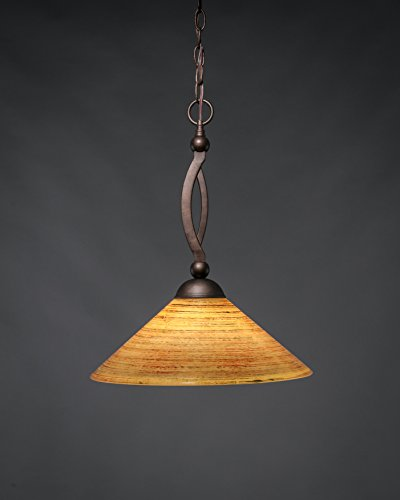 Bow Downlight Pendant with Italian Bubble Glass Shade Finish: Bronze, Size: 19