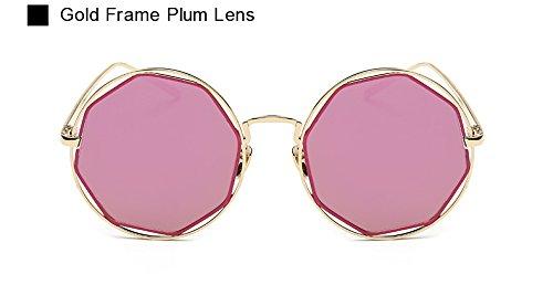 Metal Pynxn UV400 la Marco Gafas del de de Lente de Espejo Octagon Lente de New Sol Llegada de Dise Oculos AO2046 Forma Mujeres de Gafas o roja Las Eyewear Vendimia Ciruela Sol Sq1SUwr